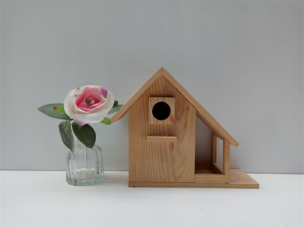 solid wood bird house with rest place