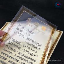 Etiquetas de granito de la etiqueta engomada del precio del mármol del PVC transparente pulido opaco
