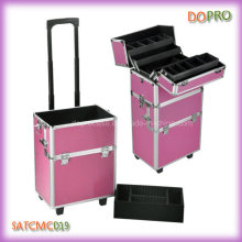 Pink Striped ABS Surface Rolling Makeup Train Case for Artists (SATCMC019)