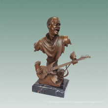 Büsten Messingstatue E-Gitarre Dekoration Bronze Skulptur Tpy-489
