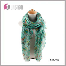 2016 Elegant Branches and Owls Pattern Printed Ladies/Women Voile Scarf