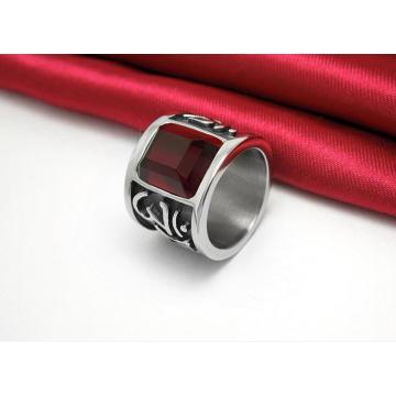 Tallado Dark Red Zircon Classic Titanium Steel Anillos Joyería de moda
