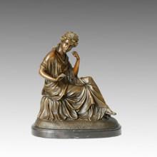 Escultura clásica del jardín de bronce Maiden / señora Decoración Estatua de cobre amarillo TPE-106