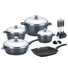 Ensemble de casseroles en aluminium moulé sous pression 16 PCS