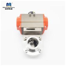 Tri зажим санитарно SS304 / 316L из нержавеющей стали пневматический дроссельный клапан с приводом простого действия