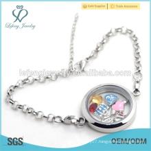 Wholesale magnetic women silver stainless steel floating locket bracelet jewelry