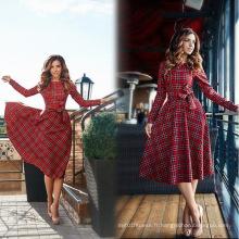 Red Checks Long Sleeve Womens Popular Retro Swing Dresses