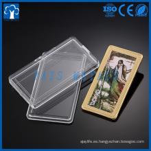 Paquete de la caja de acrílico de la moneda de la plata del oro del metal de la foto de encargo en relieve