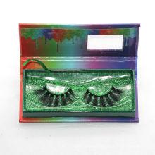 7D57 Hitomi custom lash box dramatic 3d mink eyelashes paper eyelash packaging 3d real mink eyelash