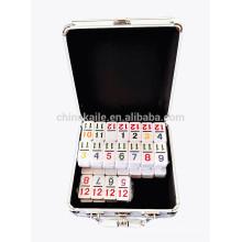 Double 12 Digit Plastic Dominoes In Aluminum Box For Sale