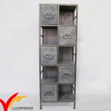 Rústico, antigas, galvanizado, metal, armário, prateleira, escola, escritório