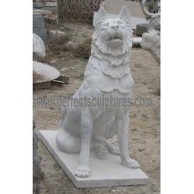 Piedra de mármol perro estatua animal para la escultura de jardín (SY-B162)