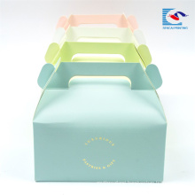 Custom logo Color Cake/dessert ppaer packaging Box With Handle