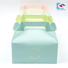 Custom logo Color Cake/dessert ppaer packaging Box With Handle