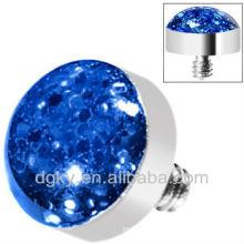 Blue Glitter Dome Dermal Bijoux pour le corps