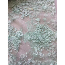 Tela de bordado plano de malla de tul con purpurina