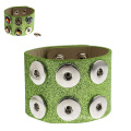 Green Color PU Leather Noosa Bangle Two Layers Wristband