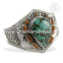 Perseverante coral y turquesa piedras preciosas plata brazalete 925 joyas de plata esterlina joyas hechas a mano mayorista