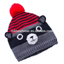 Bonnet tricoté de haute qualité avec Pompes et oreilles à boules, Bonnet Beanie hiver