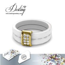 Destino joias cristais de Swarovski cerâmica anel