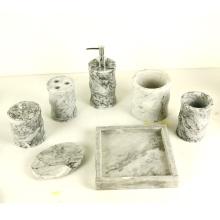 Marble Bathroom Accessories Set - Tumbler, Soap Dish, Liquid Soap Dispenser, Toothbrush