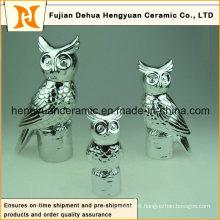 Electroplate Ceramic Owl Figurine Sculpture