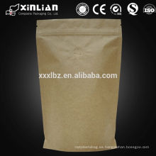 Alibaba proveedor kraft stand up bolsas / bolsas de alimentos papel de aluminio / bolsa de papel con ventana transparente