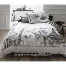 Tejido 100% poliéster cepillado e impreso para la hoja de la ropa de cama