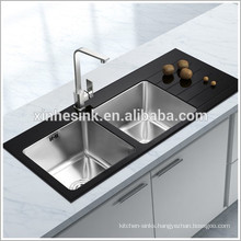 Stainless Steel Glass Top Kithcen Sink, Stainless Steel Tempered Glass Kitchen Sink with Double Bowl