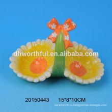 Ручная роспись керамические корзины держателя яйца с цветочным дизайном