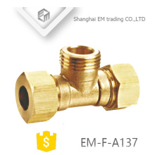 EM-F-A137 NPT threaded Tee type brass pipe fitting with double quick connector