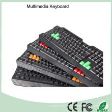 Neueste Ergonomische USB Multimedia Wasserdichte Tastatur (KB-1688M-B)