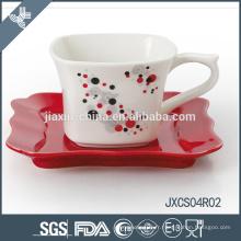 180CC 12pcs tasse à café carrée en porcelaine et soucoupe, ensemble de tasse de conception de ruban, petit ensemble de tasse