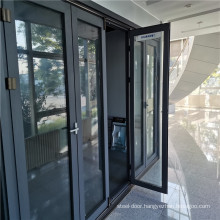 Glass Aluminum Folding Doors Windows Sliding Casement Aluminum Frame Multi-fold Double Glazed Modern Design