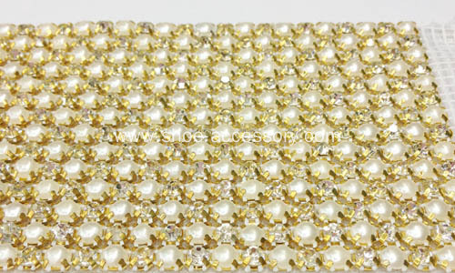 Hot Fix Rhinestone and Pearl Embellished Mesh Ribbon