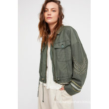Cropped Military Jacket Featuring a Cool Frayed Hem