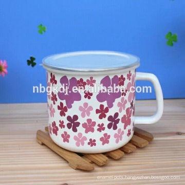 Enamel milk mugs with lid SS edge & PP lid