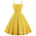 Vintage Summer Polka Dot Printed Party Dresses Cotton