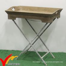Luckywind Потертый деревянный раскладной столик для балконных растений