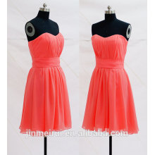 Dark Coral Prom Dresses Chiffon Knee Length Sweetheart Bodice Short Prom Dress Cheap