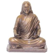 Escultura de metal religiosa jesus cristo estátua de bronze em meditação