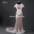TE007 Heavy Beading Cap Sleeve V Zurück Sequin Kleid Abendkleid