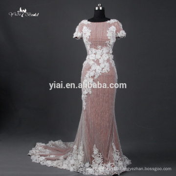 TE007 Heavy Beading Cap Sleeve V Back Sequin Dress Evening Dress