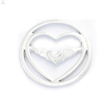 Fahion 22mm design silver angel wing jewelry supplies floating lockets plates
