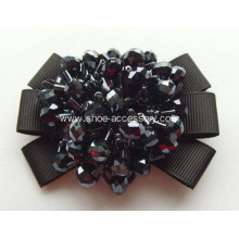 Fabric Shoe Flower with Black Acrylic Beads