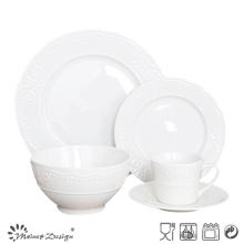 20PCS Porcelain Dinner Set for restaurant with Embossed Design