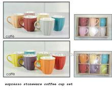 12 cores opção espresso grés copo de café definido para BS12014