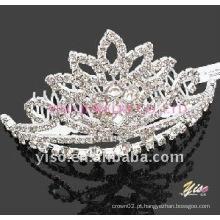 Pente de tiara de cristal prateado