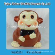 2016 new design monkey shape ceramic money saving bank