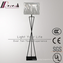 Modern Hotel Decorative White Fabric Shade Steel LED Floor Lamp
